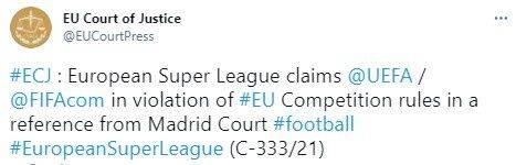 官方:欧超起诉欧足联&国际足联 指控违反欧盟竞争法