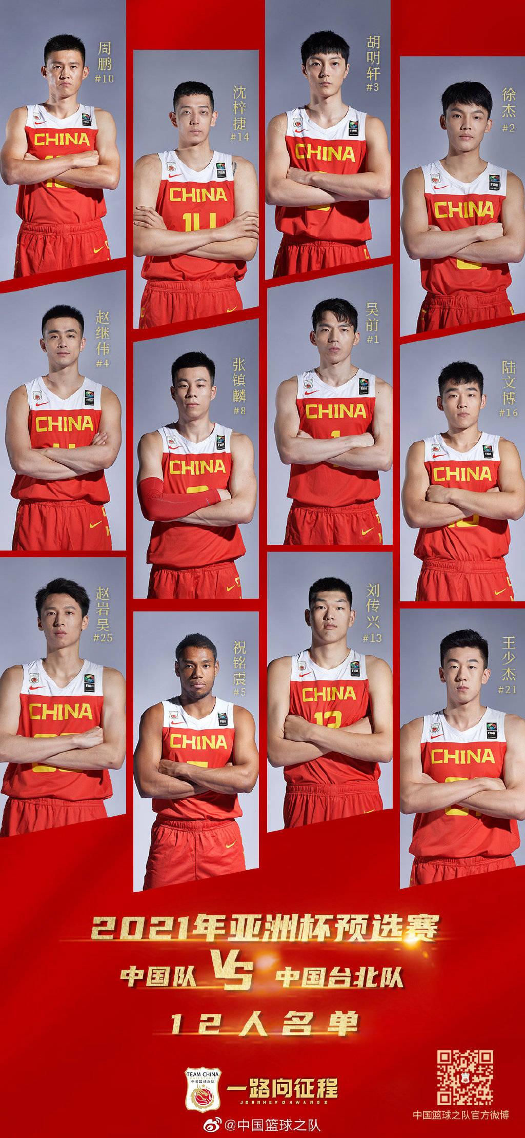 男篮再战中国台北12人公布 混血先锋入名单周琦休战