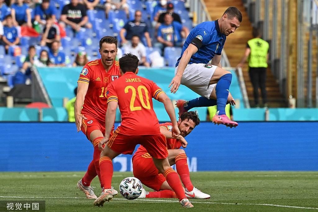 欧洲杯-维拉蒂助攻佩西纳破门 意大利半场1-0威尔士