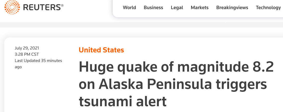 美国阿拉斯加州以南海域发生8.2级地震触发海啸预警aok