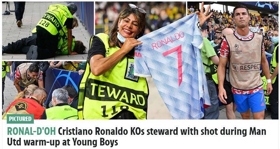 C罗热身时射门不慎踢倒场边工作人员 赛后送球衣致歉