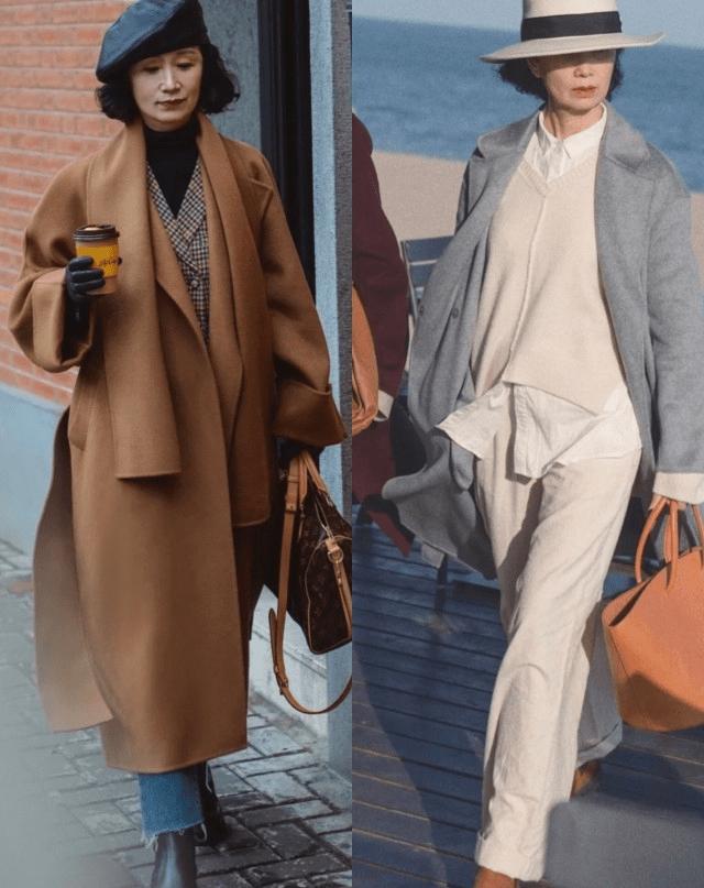 中年女人穿大衣少配打底裤,学三木妈妈更显气质