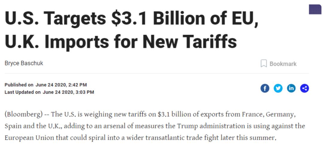 小到土豆,大到卡车,美国对欧洲发起贸易战,拟对31亿美元商品征税,欧美股市全线跳水