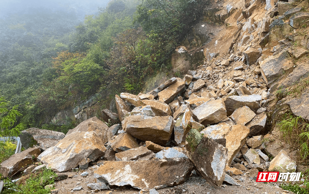 一声大吼救回10条人命 隆回望云山国有林场公路塌方抢险侧记                                   图1