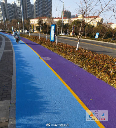 """""""紫+蓝""""高颜值自行车道"""