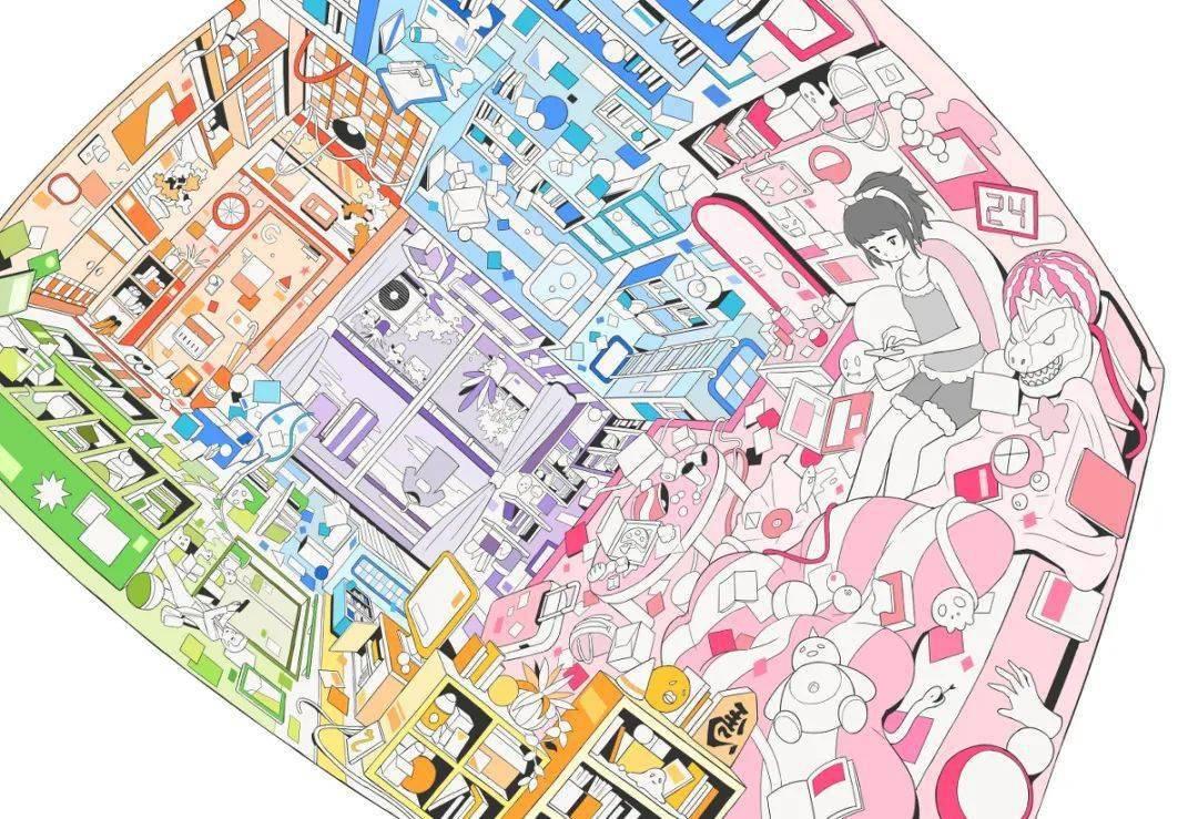 插画丨重复交错的多彩世界