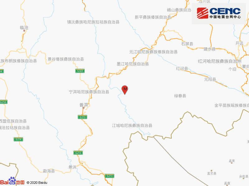 云南普洱墨江县发生3.3级地震,震源深度8千米