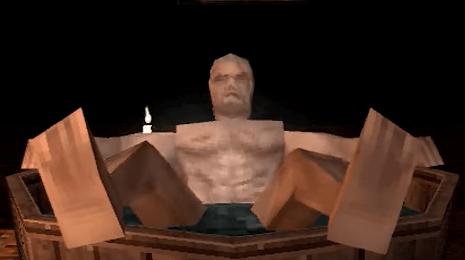 """有玩家把杰洛特洗澡的名场面""""重制""""成了PS初代风格"""