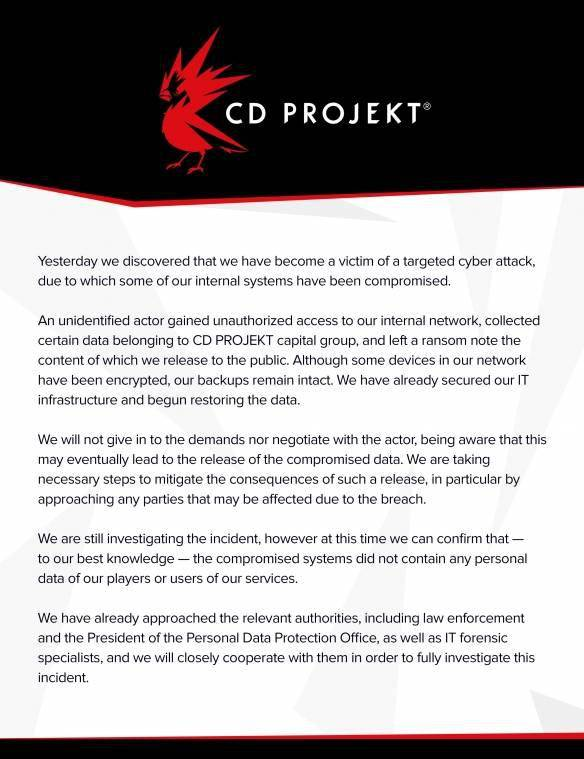 CDPR全力解决代码泄露事件:删除分享下载的推文