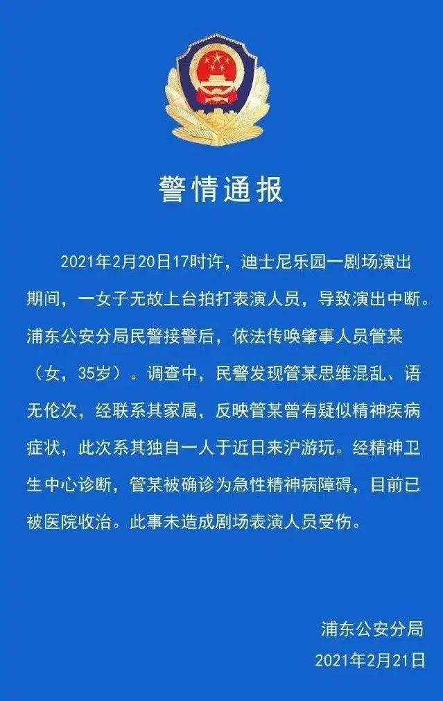 上海迪士尼一游客无故上台殴打辱骂演员