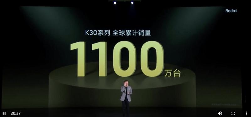 Redmi K30系列全球累計銷量1100萬臺