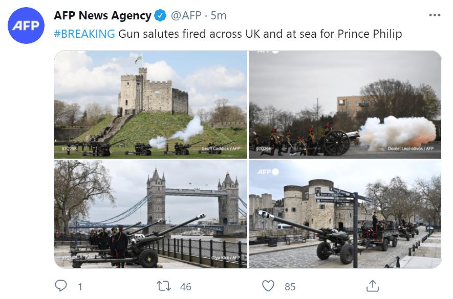 菲利普亲王去世,英国各地鸣礼炮致敬