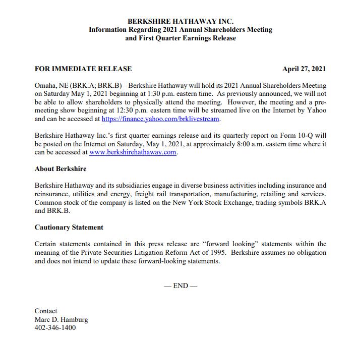 预告:巴菲特股东大会将于5月2日凌晨开始举行