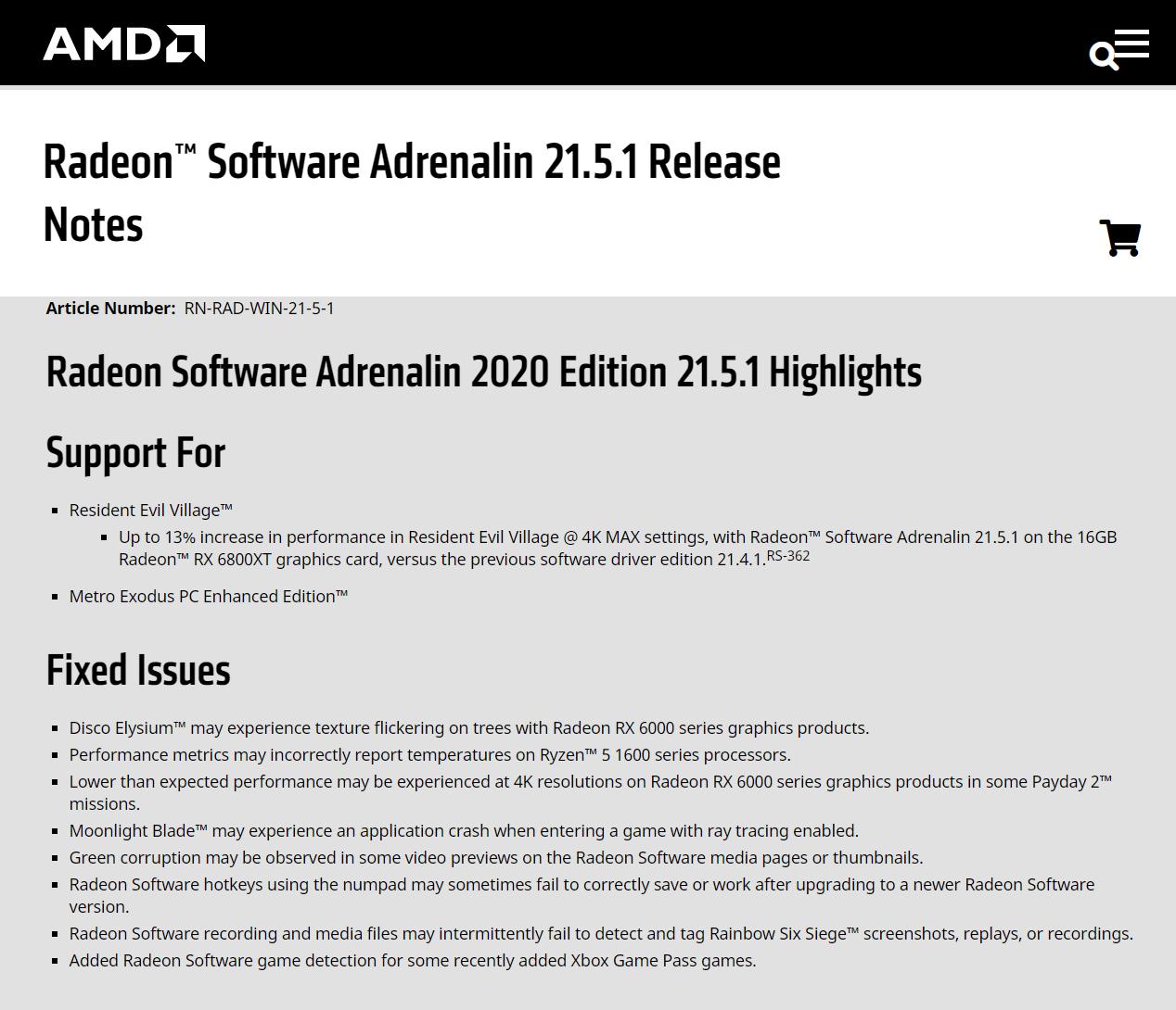 AMD 推出 21.5.1 显卡驱动更新:可为《生化危机:村庄》带来13%性能提升
