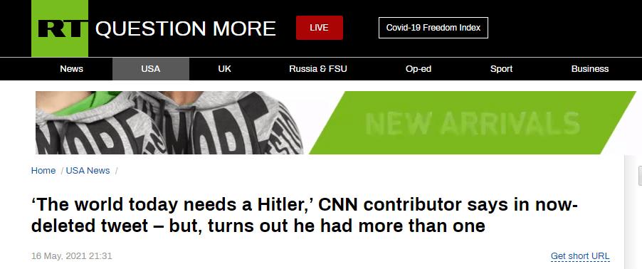 """""""当今世界需要一个希特勒"""",CNN撰稿人一条推文,激怒很多人 (图1)"""