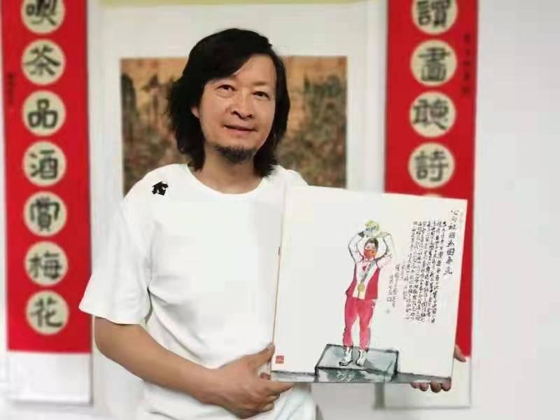 何家林为奥运首金得主杨倩作画致贺