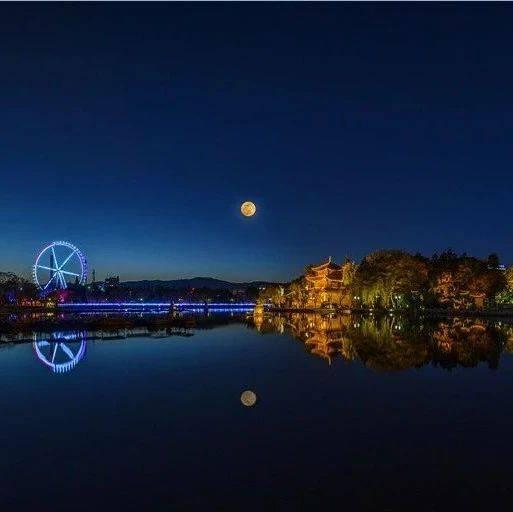 十五的月亮十四圆!中秋前夜,昆明人都在追拍春城月